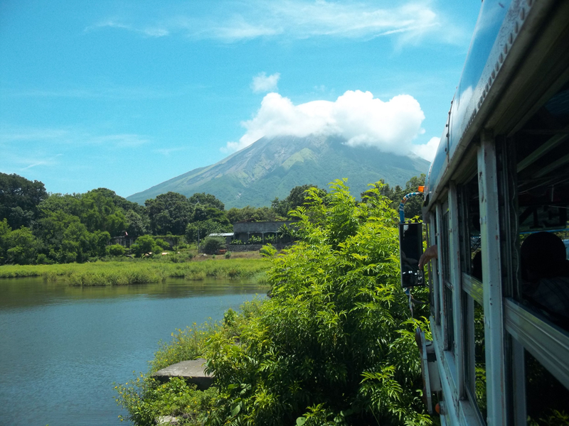 volcano view outside of bus in Nicaragua