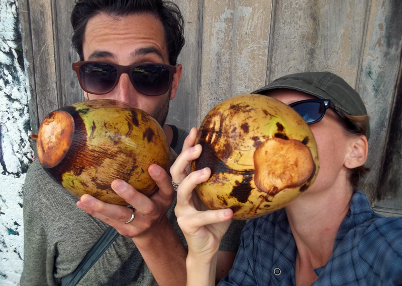 Ann and Mike in Nicaragua, drinking out of coconuts