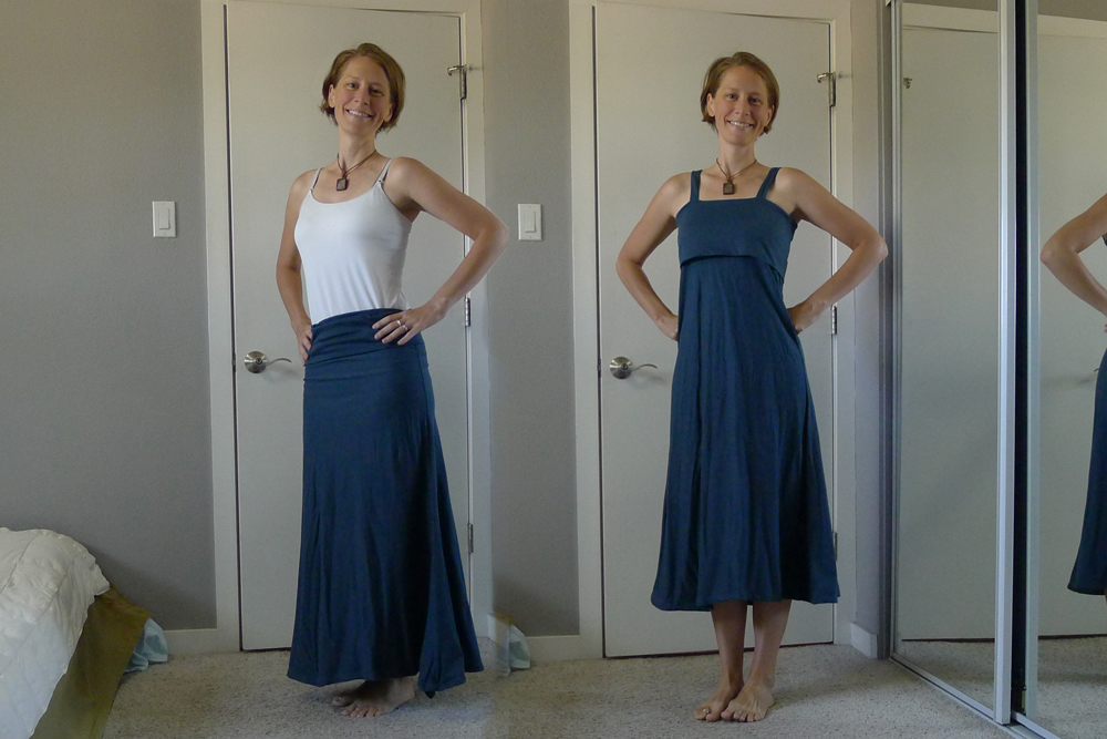 I made this dress from a Maxi Skirt pattern, then added straps and a drawstring