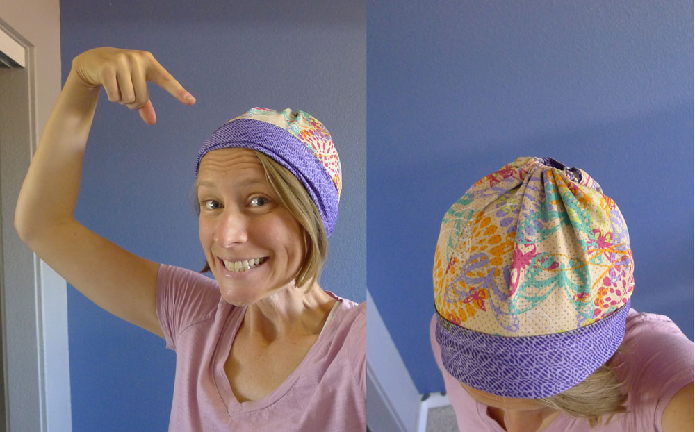 Tuck the elastic cord in, roll up the open end and voila! A hat.