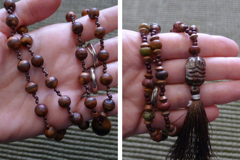 A couple of malas I made with stone beads