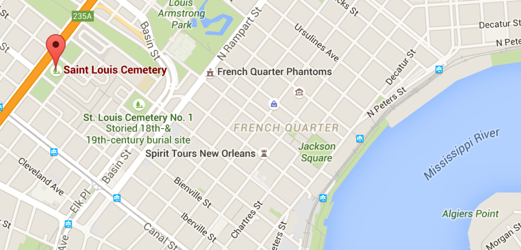 It's just to the north and west of the French Quarter