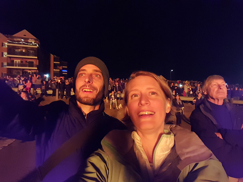 The big bonfire glow lit up our faces